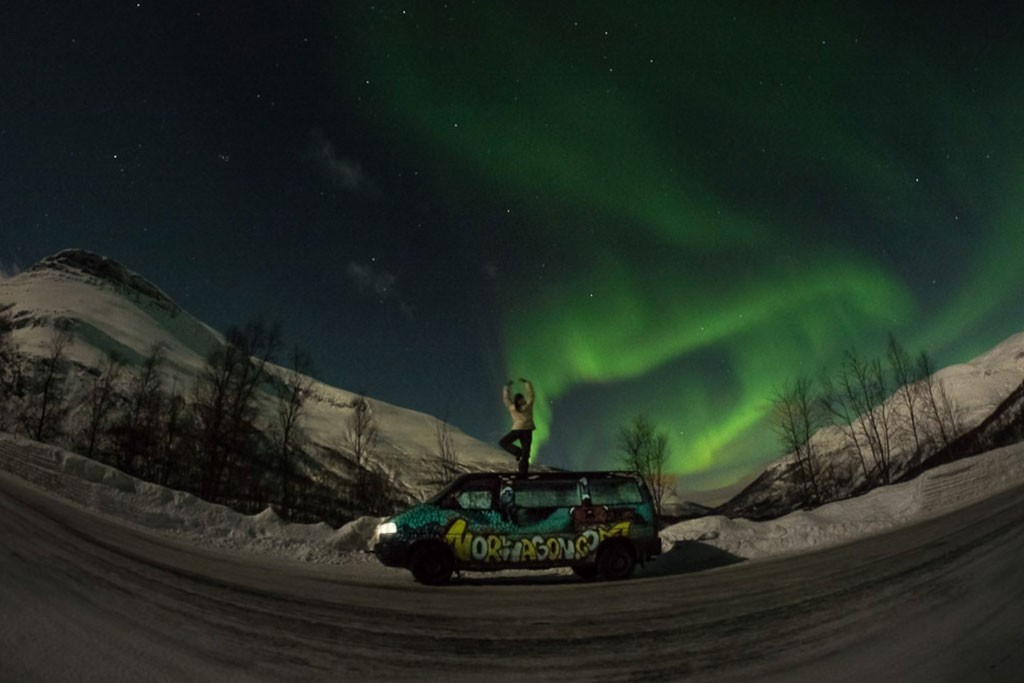 Campervan northern lights tromso Norway